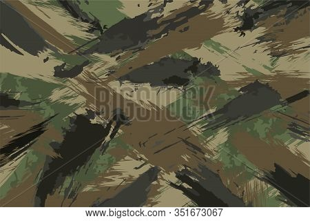 Brush Stroke Seamless Camouflage Print. Pattern Green Brown Black Olive Colors Forest Texture. Fabri