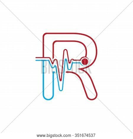 Letter R With Pulse Line Logo Vector Element Symbol Template