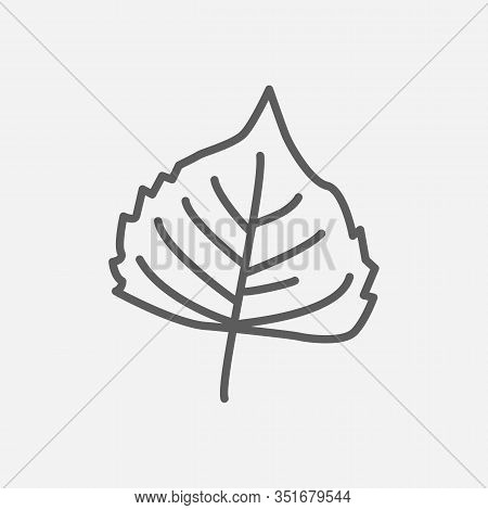Poplar Leaf Icon Line Symbol. Isolated Vector Illustration Of Icon Sign Concept For Your Web Site Mo