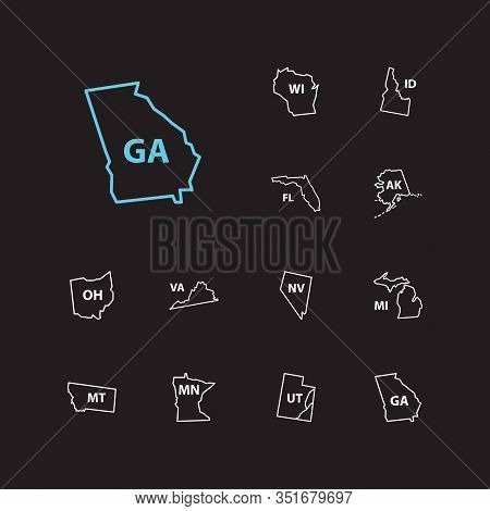 Geography Icons Set. Florida And Geography Icons With Wisconsin, Utah And Tourism. Set Of Ohio For W