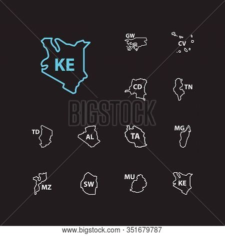 Cartography Icons Set. Algeria And Cartography Icons With Swaziland, Mozambique, Mauritius. Set Of T