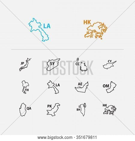 Asian Map Icons Set. Bahrain And Asian Map Icons With Pakistan, Cocos Islands, Japan. Set Of China F