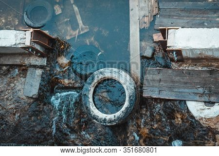 Water Pollution With Congestion In The Riverbed. Urban Garbage Global Problem. Environmental Conserv
