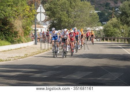19th February 2020, Alte, Algarve, Portugal - Cyclists Taking Part In Stage 1 Of The 46th Volta Ao A