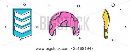 Set Military Rank , Military Helmet And Military Knife Icon. Vector