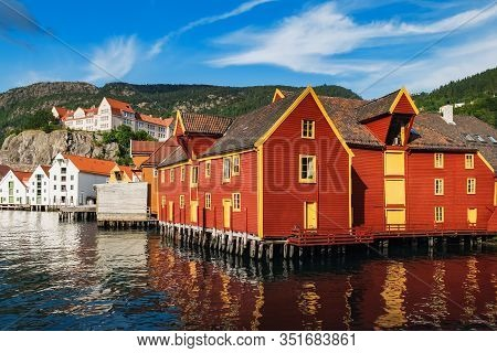 Historical Buildings In Bryggen - Hanseatic Wharf In Bergen, Norway. Scenic Summer Panorama With The