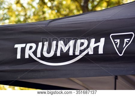 Warsaw, Poland. 29 September 2018. Sign Triumph. Company Signboard Triumph.