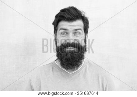 Hipster Appearance. Man Bearded Hipster Stylish Beard Grey Background. Stylish Beard And Mustache Ca