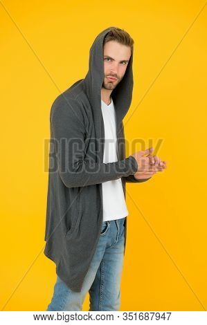 Effortless Casual Style. Stylish Guy Wear Hoodie With Style. Handsome Man Yellow Background. Fashion