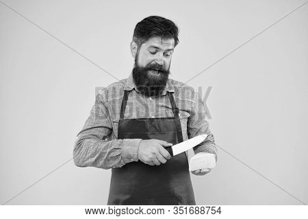 Professional Cuisine Concept. Cheese Festival. Diet And Nutrition. Happy Bearded Man Cut Cheese With