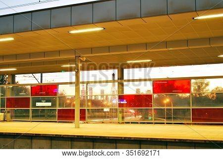 Warsaw,poland. August 2016. Station Warsaw Stadion. Night Scene.