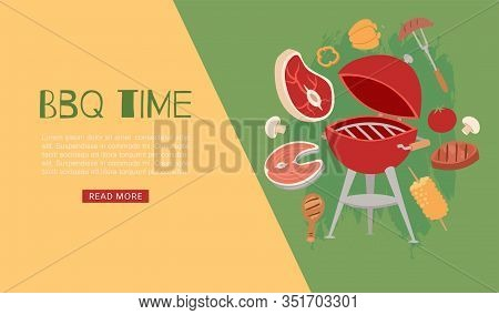 Barbeque Time Banner With Grill, Bbq And Grilled Food Steak, Chicken, Vegetables Vector Illustration