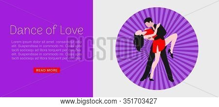 Dance Of Love Tango Or Dancing Party Web Vector Template. Cartoon Illustration Of Dancing Tango Coup