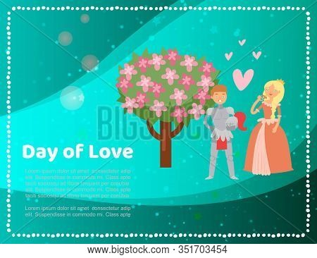 Cute Medieval Princess Lady And Knight Love Day With Blosom Tree And Hearts Cartoon Vector Illustrat