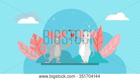 Valentine S Day Romantic Couple Of Lovely Mice In Love, Cartoon Animals Characters Boy Mouse With He