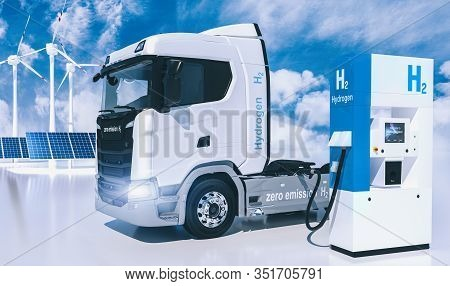 Hydrogen Logo On Gas Stations Fuel Dispenser. H2 Combustion Truck Engine For Emission Free Ecofriend