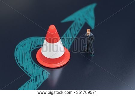 Obstacle, Solution Idea For Business Problem Or Blocker To Success Concept, Miniature People Busines