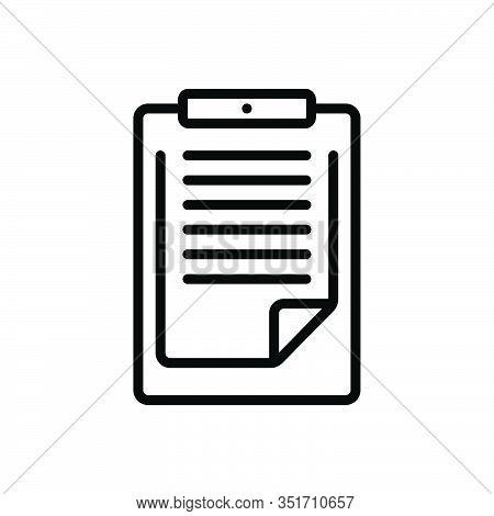 Black Line Icon For Clipboard Pritoritize Remember Notepaper Reminder Feedback