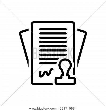 Black Line Icon For Contract Settlement Bond Annexure Appendage Pledge Bargain Stipulation Invoice A