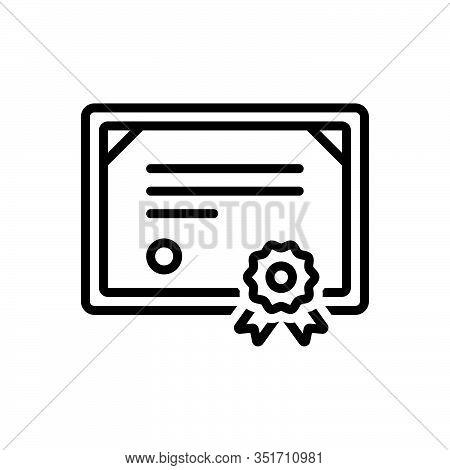 Black Line Icon For Certificate Affidavit Authentication Authorization Certification Credential Docu