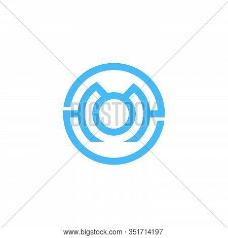 Letter Mo Symbol Circle Geometric Line Logo Vector