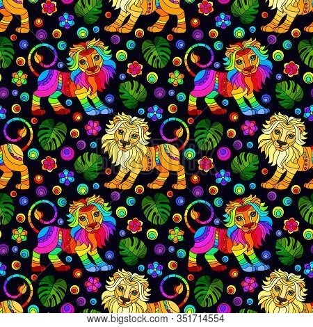 Seamless Pattern With Lions, Bright Rainbow Animals, Flowers And Leaves On A Dark Background