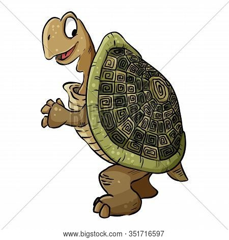 Turtle Image. Cartoon Illustration Of A Cute Tortoise Turtle. Comic Style Pet Illustration