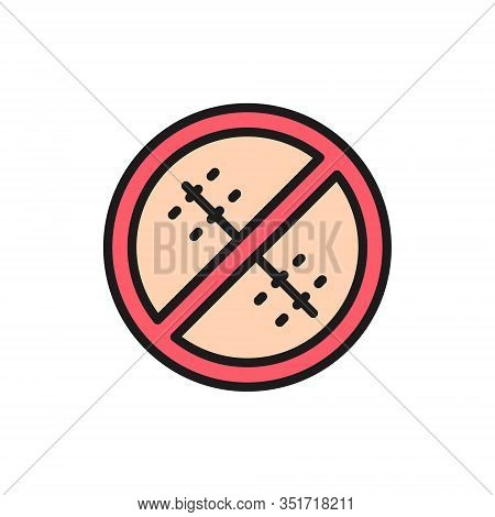 Forbidden Sign With A Medical Seam, Without Surgical Sutures Color Line Icon.