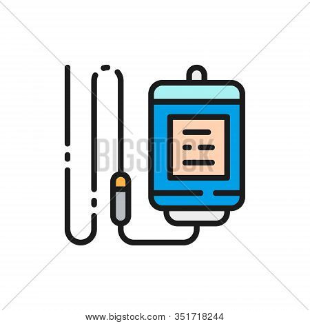 Medical Drop Counter, Medicine Dropper, Infusion Bottle Color Line Icon.
