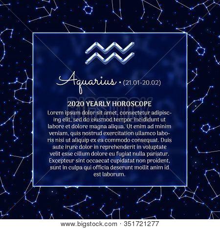 Aquarius Astrology Horoscope Prediction For 2020 Year. Luminous Zodiac Signs On Blue Background. Aqu