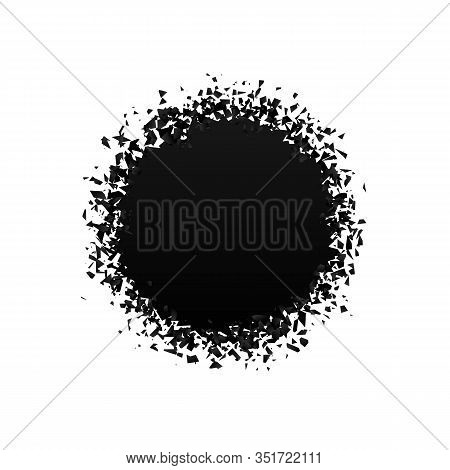Exploding Round With Debris. Isolated Black Circle On White Background. Concept, Template For Sale.