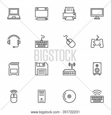 Computer Gadgets Line Icons Set. Linear Style Symbols Collection, Outline Signs Pack. Vector Graphic