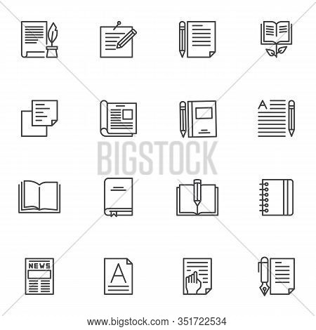 Writing Notes Line Icons Set. Linear Style Symbols Collection, Document Edit Outline Signs Pack. Vec