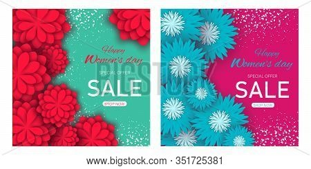 Set sale banners women's day. March 8 flower card. International Happy Women's Day. Holiday 3d background of blue and red paper flower on pink and green backdrop with square frame. 8 march, womans day, womens day background, womens day banners, womens day