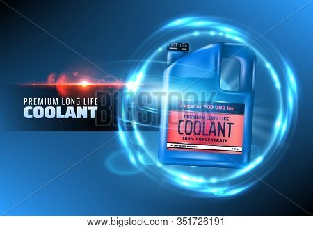 Coolant Of Car Engine Vector Design With 3d Plastic Jerry Can Of Antifreeze. Blue Bottle With Red La