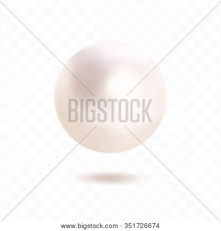Single Pearl Isolated On Transparent Background. Spherical Beautiful 3d Orb With Transparent Glares