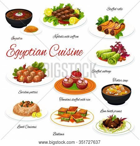 Egyptian Meat And Vegetable Dishes With Dessert. Vector Lentil And Corn Soups, Beef Shish Kebab, Tom