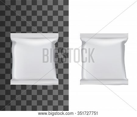 Flow Pack Or Blank Foil Package 3d Mockups With Vector Plastic Bag Of Snack Food, Chocolate Bar Or C