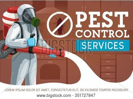 Pest Control Worker Spraying Insecticide Against Insects And Rodents Vector Design. Exterminator Wit