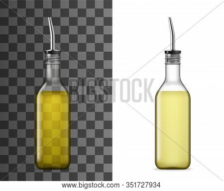 Bottle With Pourer 3d Vector Mockups. Olive And Sunflower Oil, Vinegar, Sauce And Seasonings Glass C