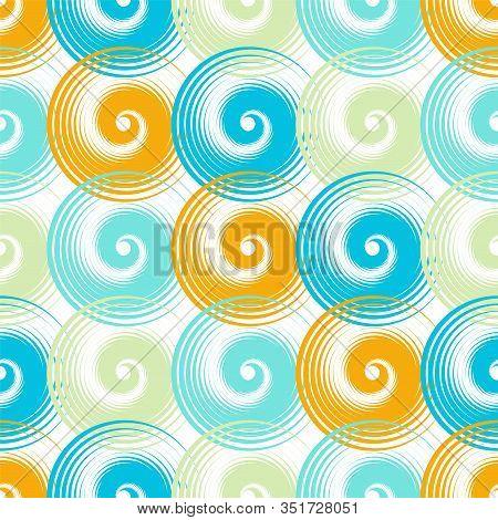 Spiral Swirls Blue Orange Complicated Seamless Pattern Vector Design. Round Spiral Scrolls, Circle S