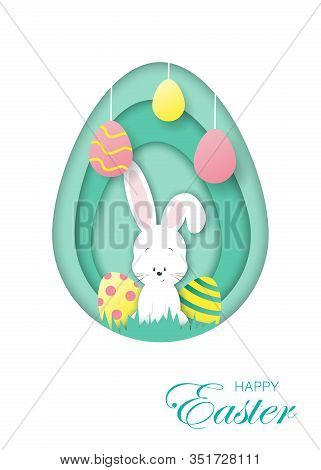 Easter white card with paper bunny. Easter illustration in paper style, shadow, vector. Easter background. Easter bunny with eggs. Happy Easter, easter bunny, easter background, easter banners, easter flyer, easter design,easter with flowers on red backgr