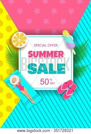Summer sale background. Hello Summer, summer time, summer day, summer day background, summer banners, summer flyer, summer design, summer with people in the pool, vector illustration. Eps10 vector illustration. Elegant woman in a hat lying on a beach towe