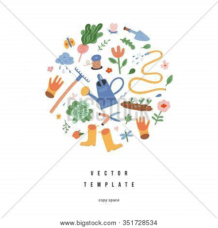 Garden Gear Composition, Gardening Tools Arranged In Round Composition, Banner Template With Copy Sp