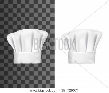 Chef Hat Or Cook Cap 3d Vector Mockups. White Baker Toque Realistic Design Of Professional Uniform H