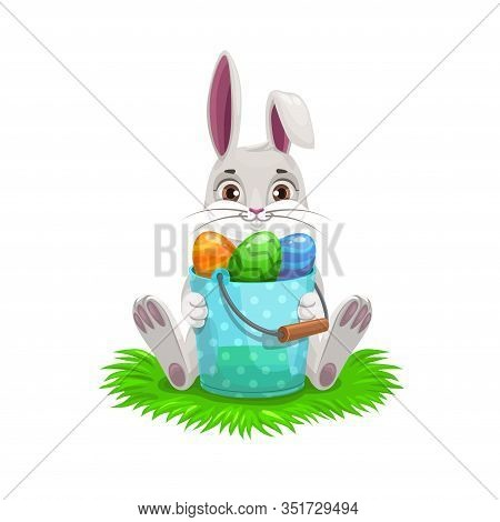 Bunny With Easter Egg Hunt Bucket, Easter Religion Holiday Vector Design. White Spring Rabbit Or Har