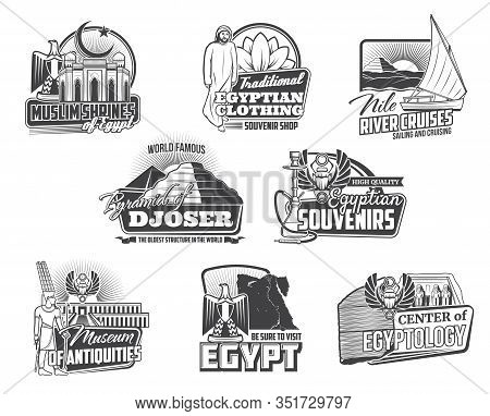 Egypt Travel Vector Icons With Ancient Egyptian Pharaoh Pyramids, Temples And Gods, Map, Heraldic Ea