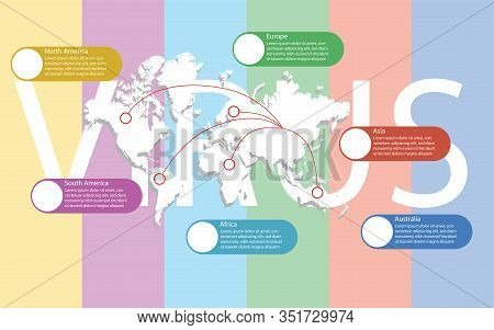 World Map With Separate Continents. Traveling Routes Depart From China To Each Continent Around The