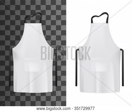 White Apron Of Chef Or Cook 3d Vector Mockups. Kitchen Or Bakery Staff Uniform Realistic Templates O