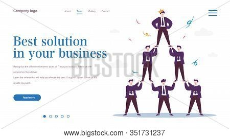 Successful Dream Team, Business Development And Teamwork . Businessmen Pyramid . Business Concept Of